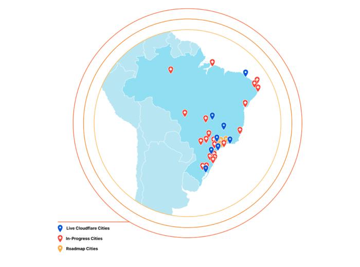 Mapa de presença de servidores da Cloudflare