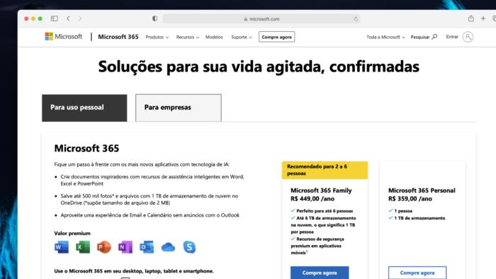 Preços do Microsoft 365 em julho de 2021 (Imagem: Reprodução)