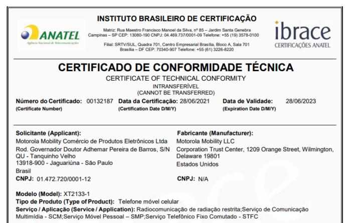 Certificado de homologação do possível Moto G60S (Imagem: Reprodução/Anatel)