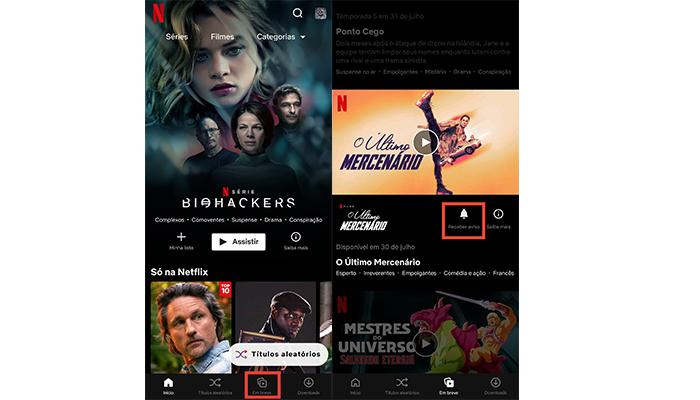 Processo para ativar notificações de estreias no aplicativo da Netflix (Imagem: Reprodução/Netflix)
