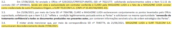 Anatel's official letter clarifies that Magazine Luiza and Surf Telecom have requested disaccreditation