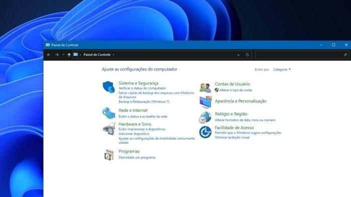 Painel de Controle clássico será mantido no Windows 11 (Imagem: Reprodução)