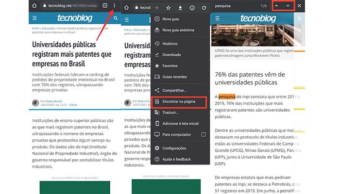 Processo para pesquisar palavras em um texto no app do Google Chrome (Imagem: Reprodução/Google Chrome)
