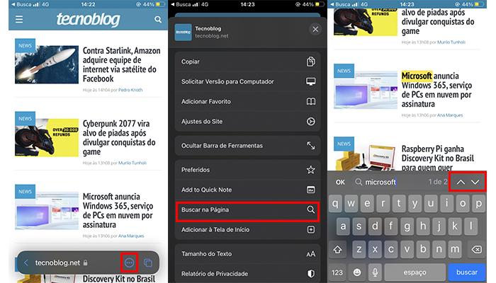 Processo para pesquisar palavras em um texto no Safari do iPhone (Imagem: Reprodução/Safari)