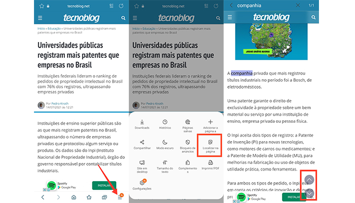 Processo para pesquisar palavras em um texto no app Samsung Internet (Imagem: Reprodução/Samsung Internet)