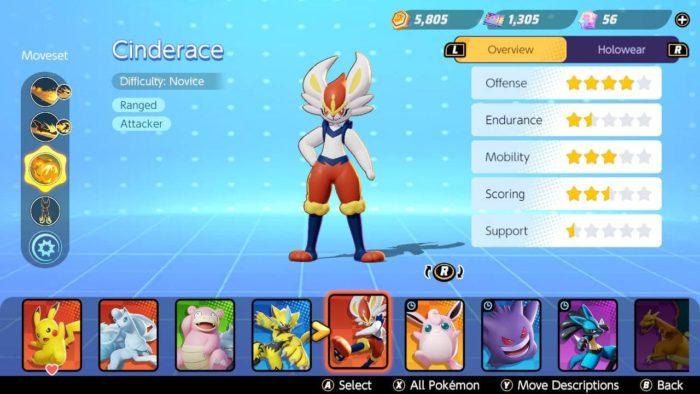 Pokémon Unite tem cinco classes diferentes de monstrinhos (Imagem: Murilo Tunholi/Tecnoblog)