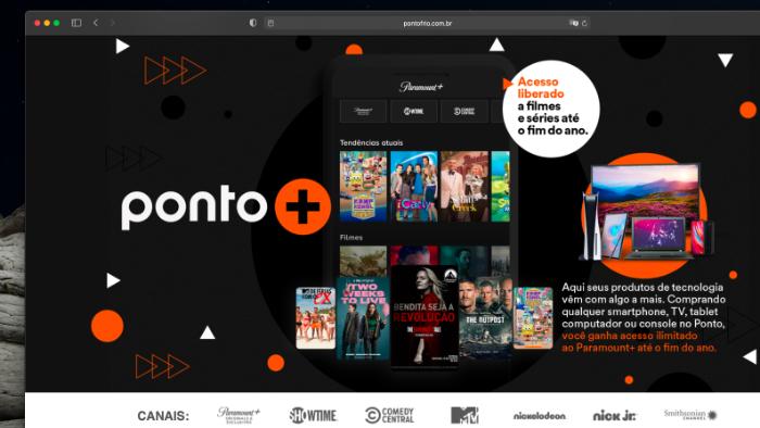 Ponto dá Paramount+ para quem comprar produtos tech