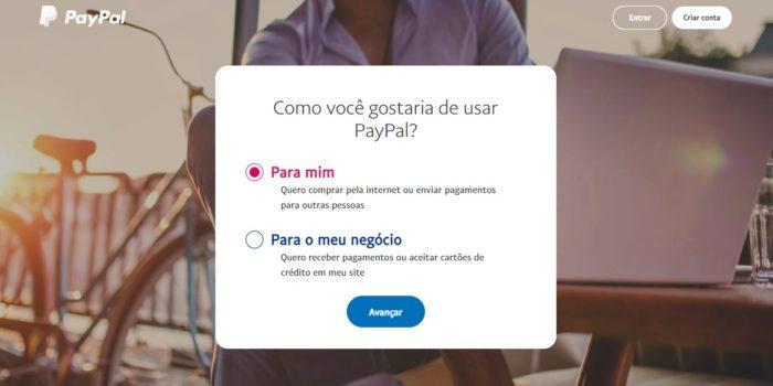 Crie sua conta no PayPal (Imagem: Reprodução/PayPal)