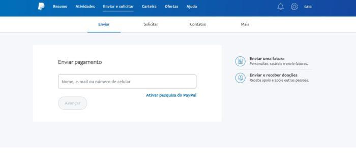É possível enviar pagamentos através da sua conta PayPal (Imagem: Reprodução/PayPal)