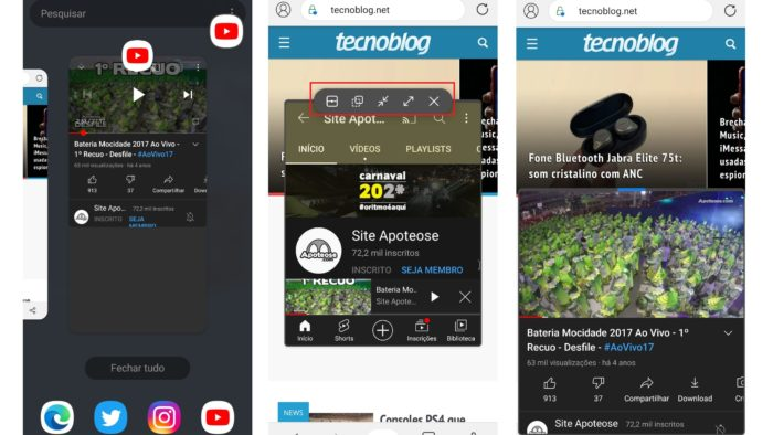 Com o recurso de dividir tela do Android,, é possível deixar o YouTube em segundo plano (Imagem: Reprodução/Android)