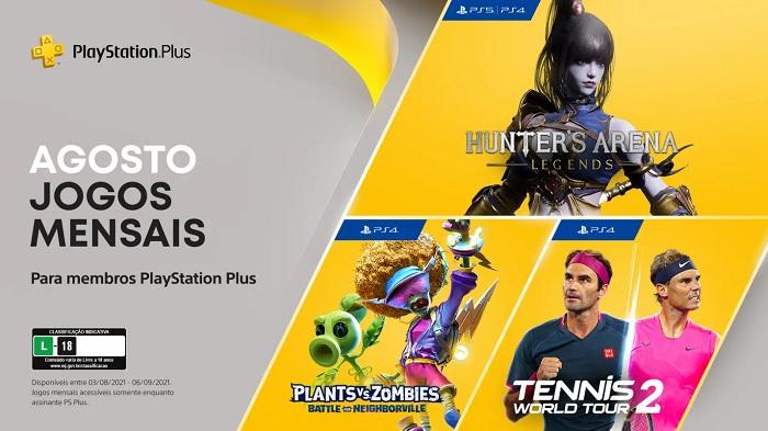 PS Plus de agosto tem Hunter's Arena: Legends no PS4 e PS5 e Tennis World Tour 2 no PS4 / Playstation / Divulgação