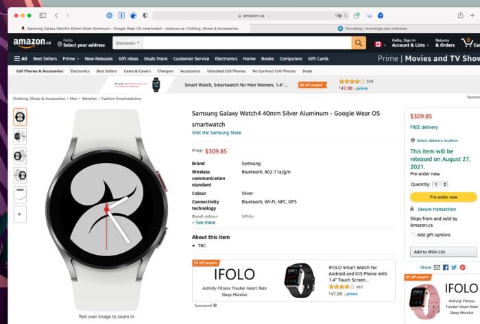 Samsung <a href='https://meuspy.com/tag/Espionar-Galaxy'>Galaxy</a> Watch 4 aparece no catálogo da Amazon canadense antes da hora (Imagem: Reprodução/Tecnoblog)