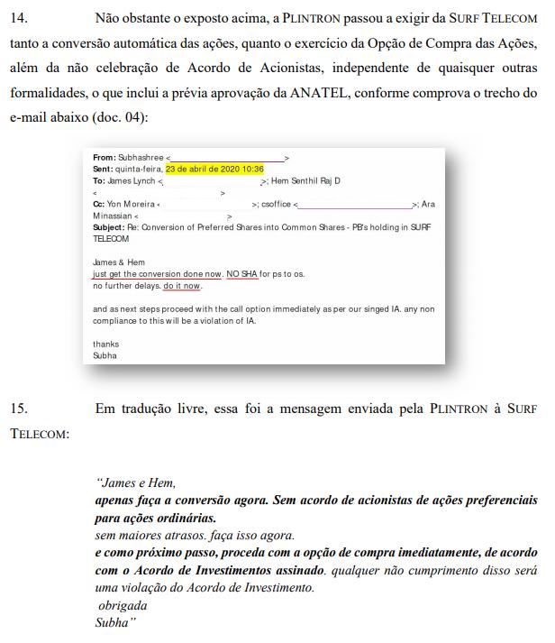 Surf diz que pedido da Plintron viola regulamentação da Anatel