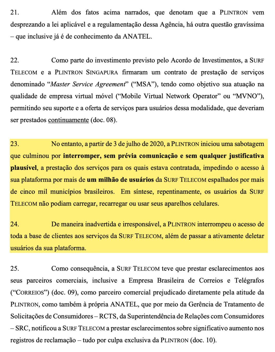 Excerpt from Surf's request for injunction against Plintron