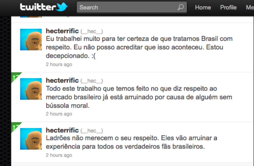 Tweets feitos por Hector Sanchez, produtor de MK9, em 2011 (Imagem: Reprodução)