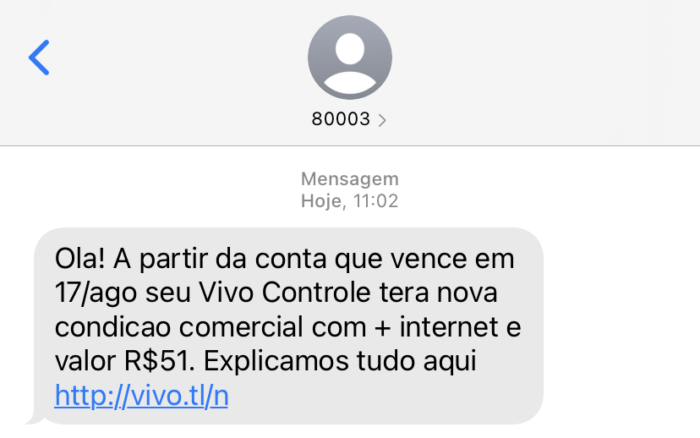 SMS sent by Vivo about readjustment in the control plan