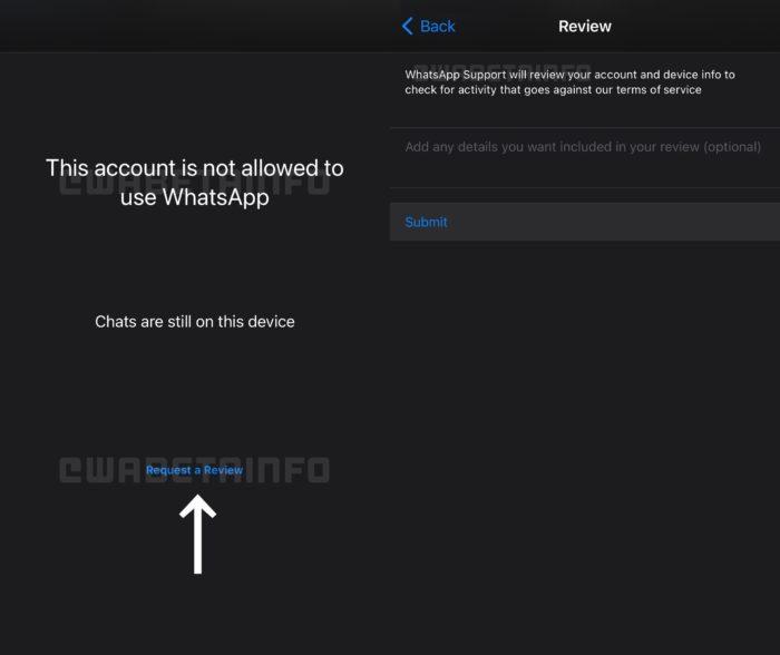 WhatsApp prepara opção para solicitar revisão de banimento de conta (Imagem: Reprodução/WABetaInfo)