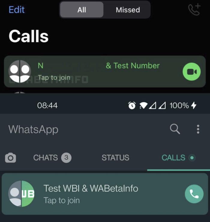 WhatsApp Beta para iPhone (cima) e Android (baixo) ganha opção para ingressar em chamadas em andamento (Imagem: Reprodução/WABetaInfo)