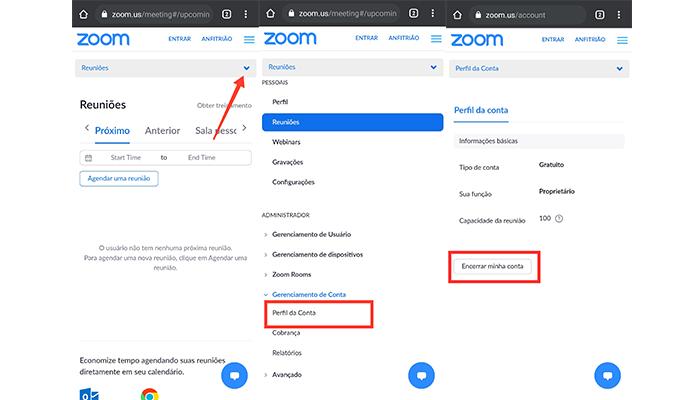 Processo para excluir a conta do Zoom Meetings no celular (Imagem: Reprodução/Zoom Meetings)