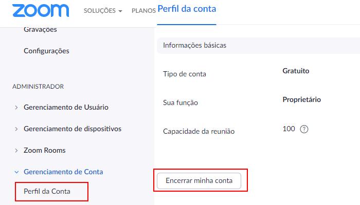 Processo para excluir a conta do Zoom Meetings no PC (Imagem: Reprodução/Zoom Meetings)
