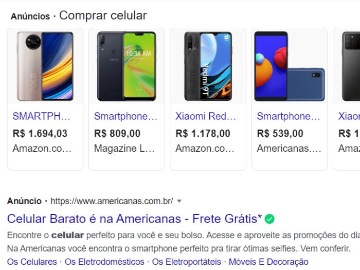 Anúncios de pesquisa são os que aparecem no topo dos resultados do Google (Imagem: Reprodução)