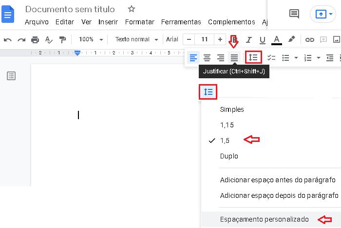 Como ajustar alinhamento e espaçamento no Docs (Imagem: Reprodução/Google Docs)