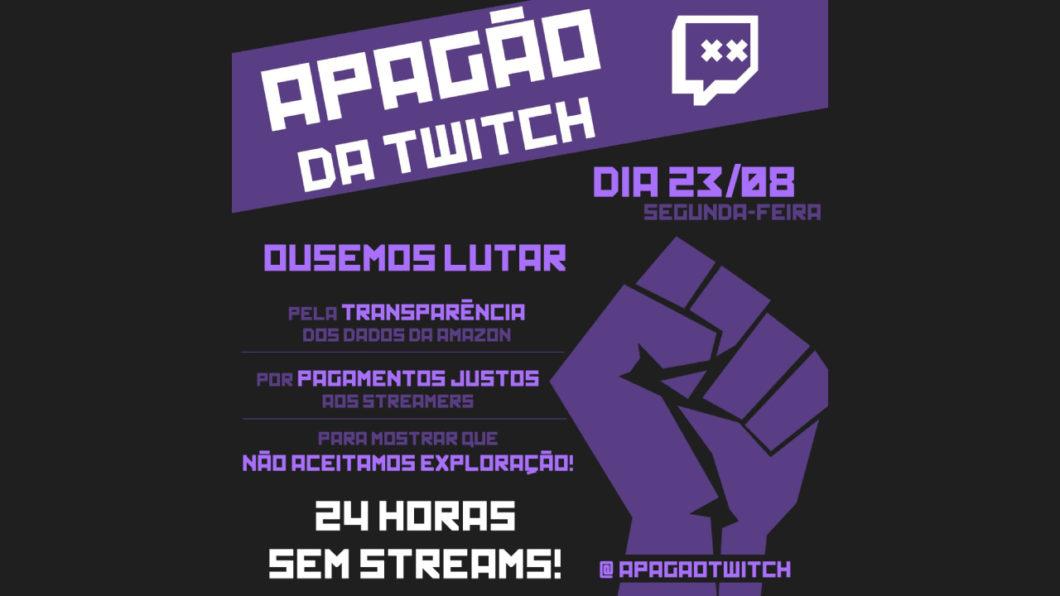 Convocação divulgada na internet chamando os streamers a aderirem ao apagão da twitch
