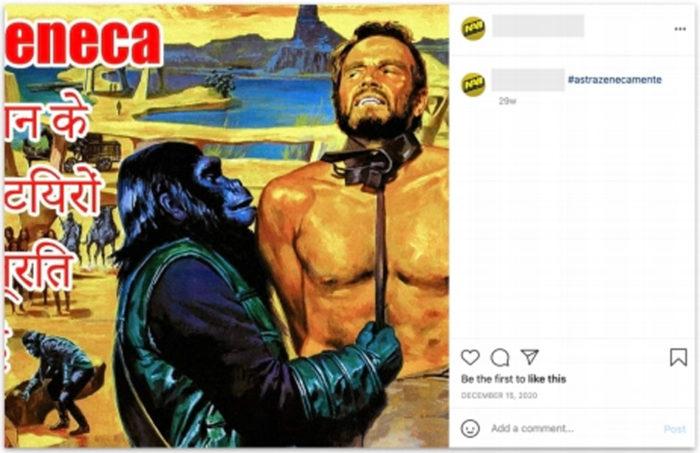 Post no instagram com meme escrito em hindu, e com hashtag em português, feito por um usuário que tinha o nome escrito em inglês