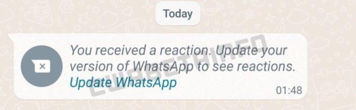 Você recebeu uma reação. Atualize a sua versão do WhatsApp para visualizar reações. (imagem: WABetaInfo)