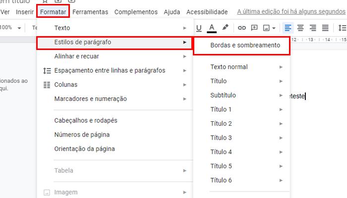 Processo para colocar bordas em um parágrafo no Google Docs (Imagem: Reprodução/Google Docs)