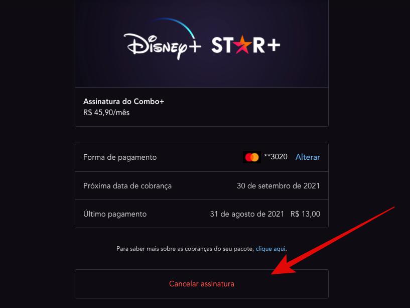 Botão para cancelar assinatura do Star+