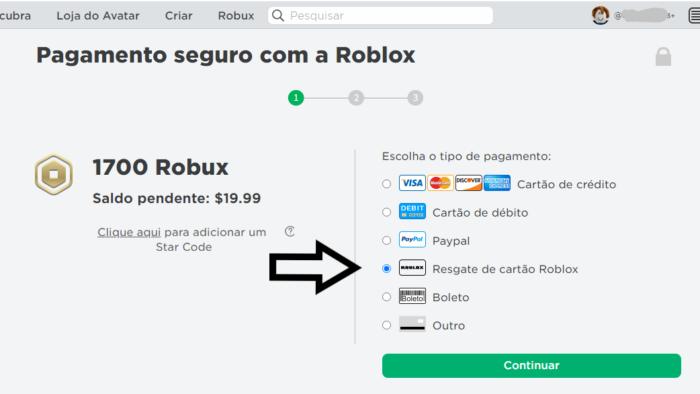 Usando cartão Roblox para comprar Robux