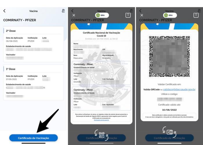 emissão do certificado de vacinação covid-19 no aplicativo do SUS