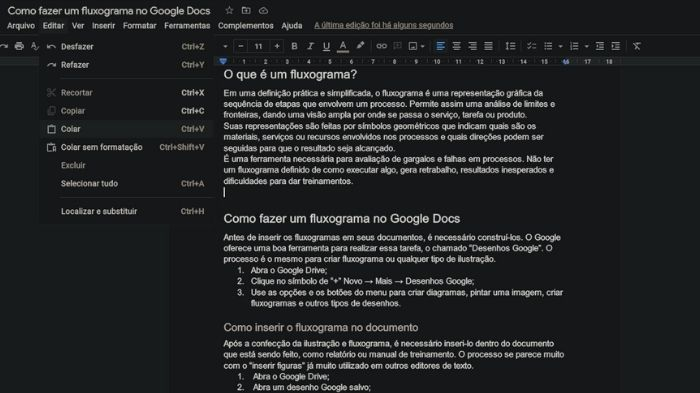 Como fazer um fluxograma no Google Docs (Imagem: Leandro Kovacs/Reprodução)
