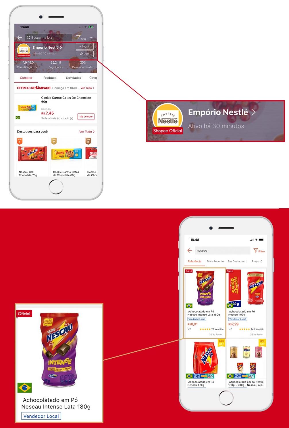 Shopee indica lojas oficiais e produtos que elas vendem (Imagem: Divulgação)