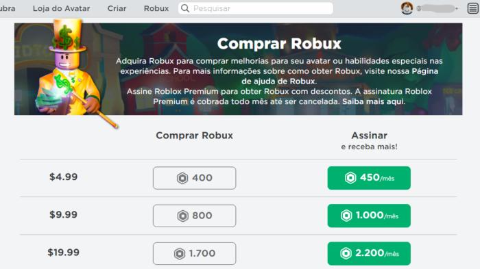 Comprar Robux no Roblox