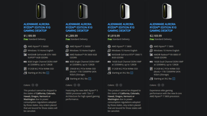 Dell cannot ship certain Alienware desktops to six US states (Image: Reproduction)
