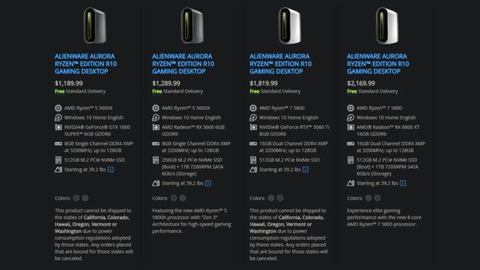Dell não pode enviar certos desktops Alienware para seis estados dos EUA (Imagem: Reprodução)