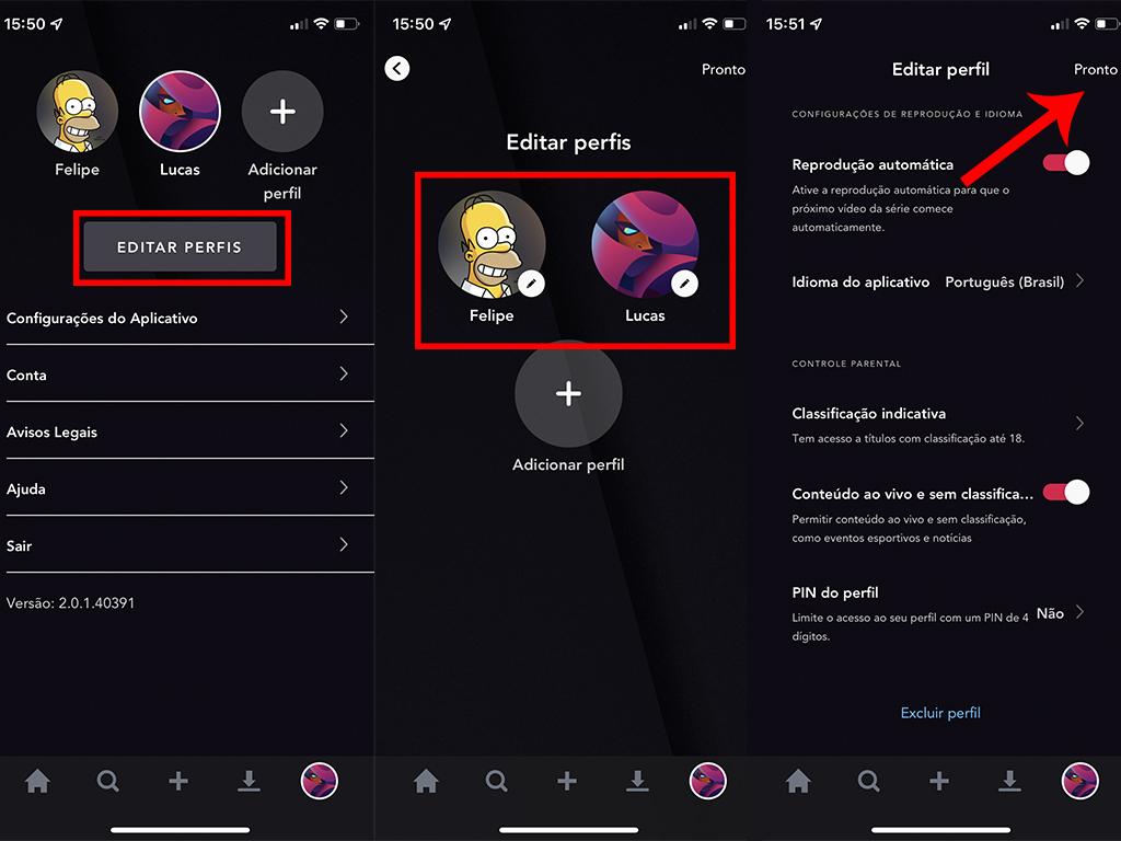 Processo para editar um perfil no Star+ (Imagem: Reprodução/Star+)