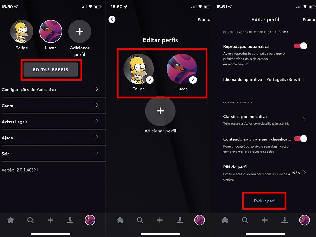 Processo para excluir um perfil no Star+ (Imagem: Reprodução/Star+)