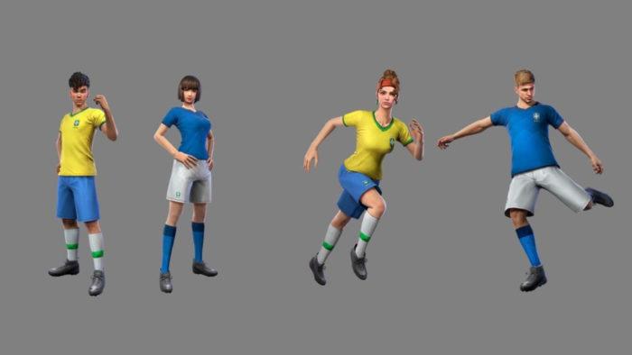 Skins da Seleção Brasileira de Futebol em Free Fire (Imagem: Divulgação/Garena)