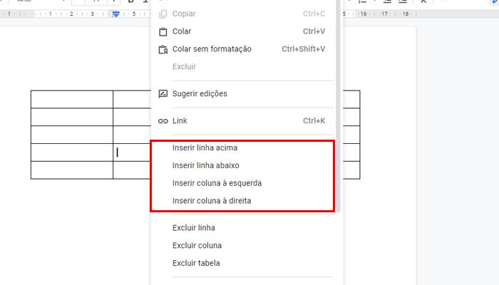 Processo para adicionar linhas ou colunas no Google Docs (Imagem: Reprodução/Google Docs)
