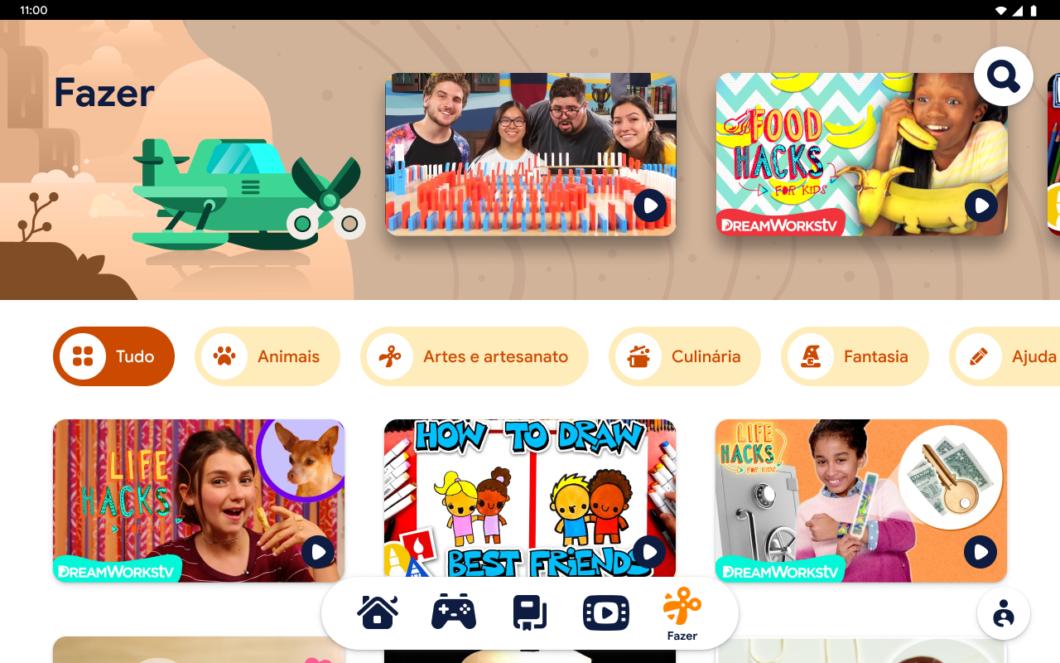 """Aba """"Fazer"""" do Google Kids Space (Imagem: Divulgação/Google)"""