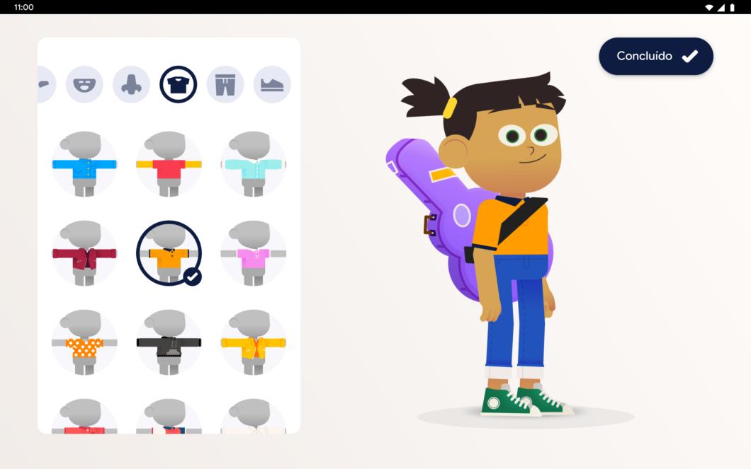 Editor de avatar do Kids Space (Imagem: Divulgação/Google)