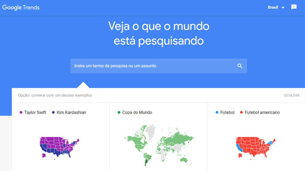 Página inicial do Google Trends (Imagem: Reprodução/Google Trends)