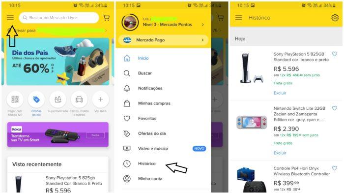 Histórico Mercado Livre app