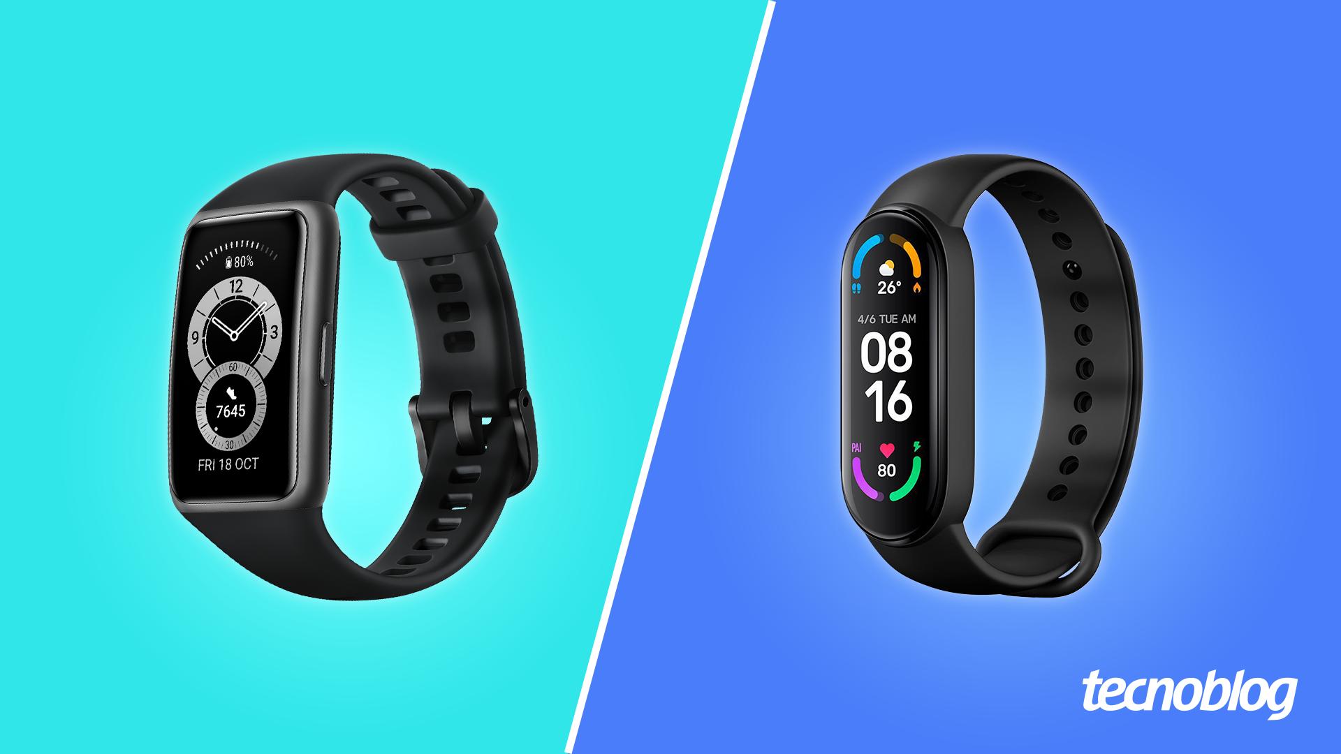 Xiaomi Mi Band 6 vs Huawei Band 6: qual comprar? (Imagem: Vitor Pádua/Tecnoblog)