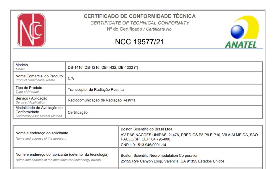 Certificado de conformidade técnica na Anatel do dispositivo de estimulação cerebral profunda Vercise Genus, da Boston Scientific