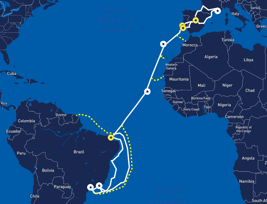 Cabo submarino Ellalink, que liga <a href='https://meuspy.com/tag/Alicativo-Espiao-Brasileiro'>Brasil</a> à Europa
