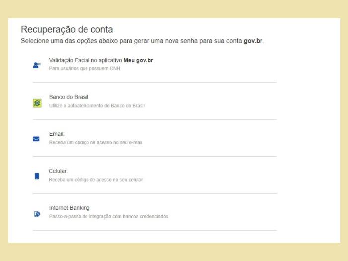 Gov.br: meios de recuperação de senha (Imagem: Reprodução/Gov.br)